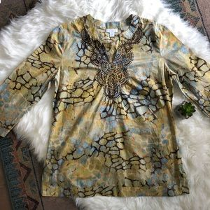 Charter Club embroidered tunic top